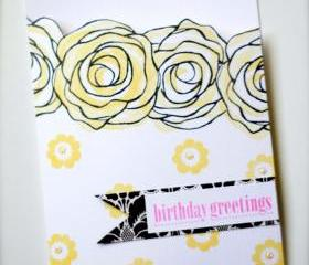 Birthday Greetings Card (Blank Inside) by The Leaf Studio. FREE shipping